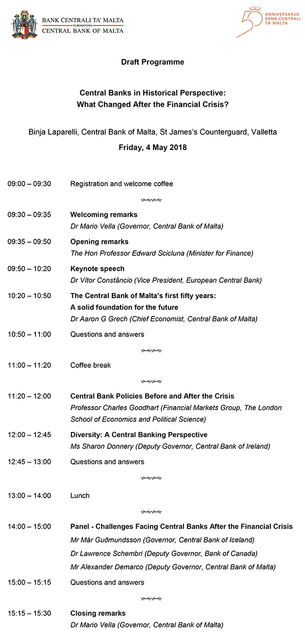 Central Bank of Malta 50th Anniversary Conference