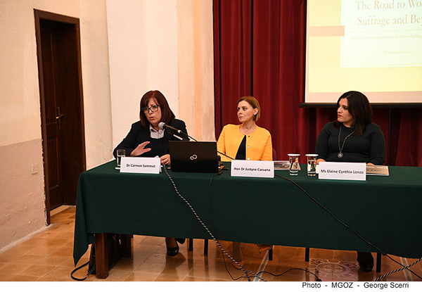 Dr Carmen Sammut delivering her presentation 'The Road to Women's Suffrage and Beyond: Women's Enfranchisement and the Nation Building Project in Malta'  flanked  by Hon Dr Justyne Caruana and Ms Elaine Cynthia Lenzo.