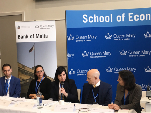 Ms Rita Schembri, Central Bank of Malta, intervening during the session. (left to right) Mr Brian Camilleri, Malta Enterprise, Dr Kalina Koleva, Central Bank of Malta, Professor Franklin Allen, Imperial College London and Dr Elise Gourier, Queen Mary University of London.