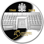 Silver coin commemorating the 50th anniversary of the Central Bank of Malta