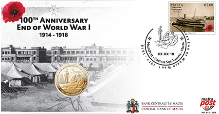 Philatelic numismatic cover to commemorate the end of the First World War