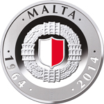 Malta Independence 50th Anniversary silver coin - obverse