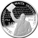 Malta Independence 50th Anniversary silver coin - reverse