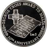 50th Anniversary of the award of the George Cross to Malta silver coin