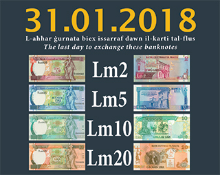 Last chance to exchange Maltese Lira Fifth Series banknotes