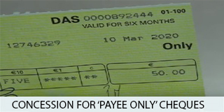 Concession to 'payee only' cheques